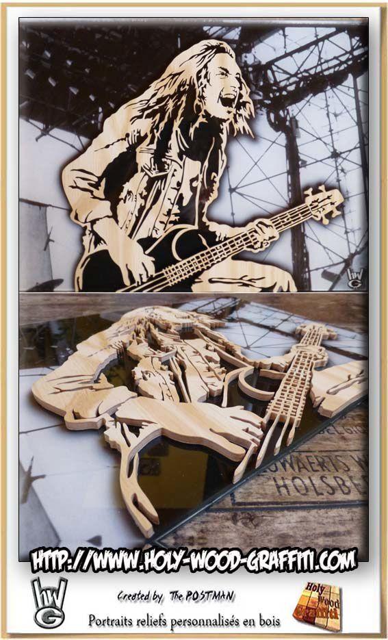 Portrait original de Cliff Burton en bois collé sur du verre cristal