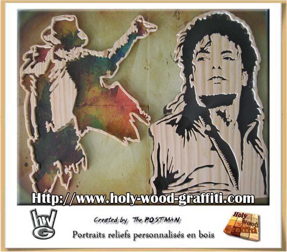 portrait dessin tableau de michael jackson moonwalker id e cadeau pour les noces de bois. Black Bedroom Furniture Sets. Home Design Ideas