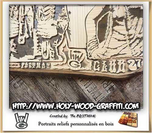Signature d' Holy Wood Graffiti, Postman et titre du tableau en bois, écriture trés psychédélique 70's