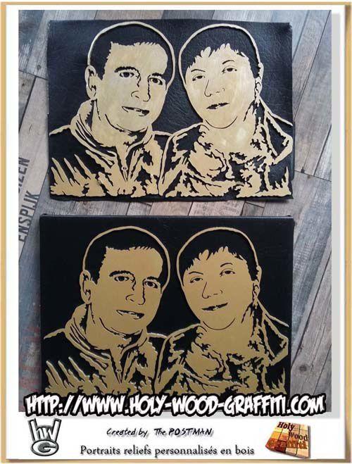 Le premier portrait avec défaut de peinture en haut et la version finale en bas, celle qui a été envoyée
