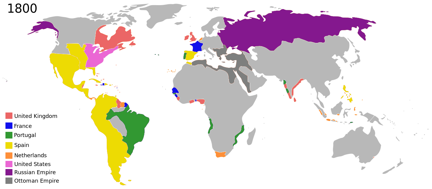 Empires coloniaux en 1800 - Par George Tsiagalakis — original public domain PNG design by Jluisrs, CC BY-SA 4.0, https://commons.wikimedia.org/w/index.php?curid=36549464