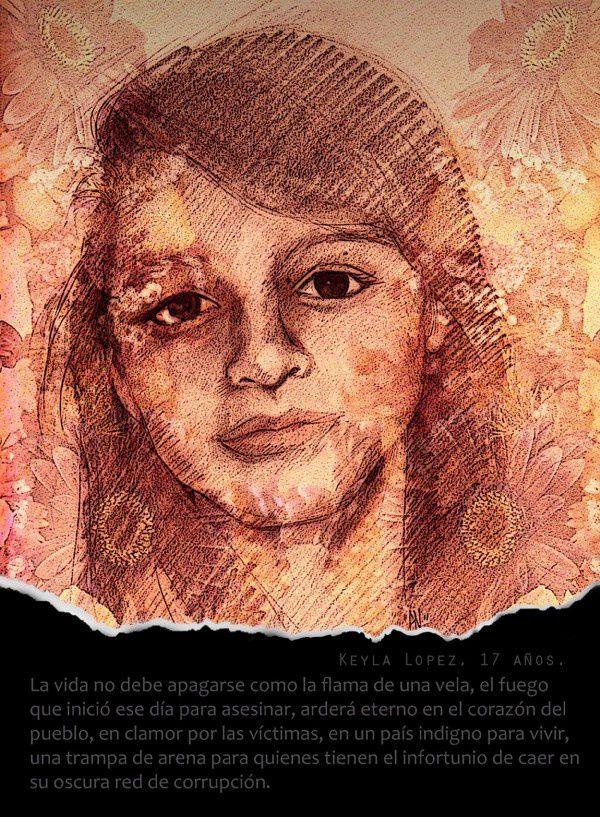 21. Keila Rebeca López Salguero 17 años Ilustración: Pigmento Negro-Guatemala