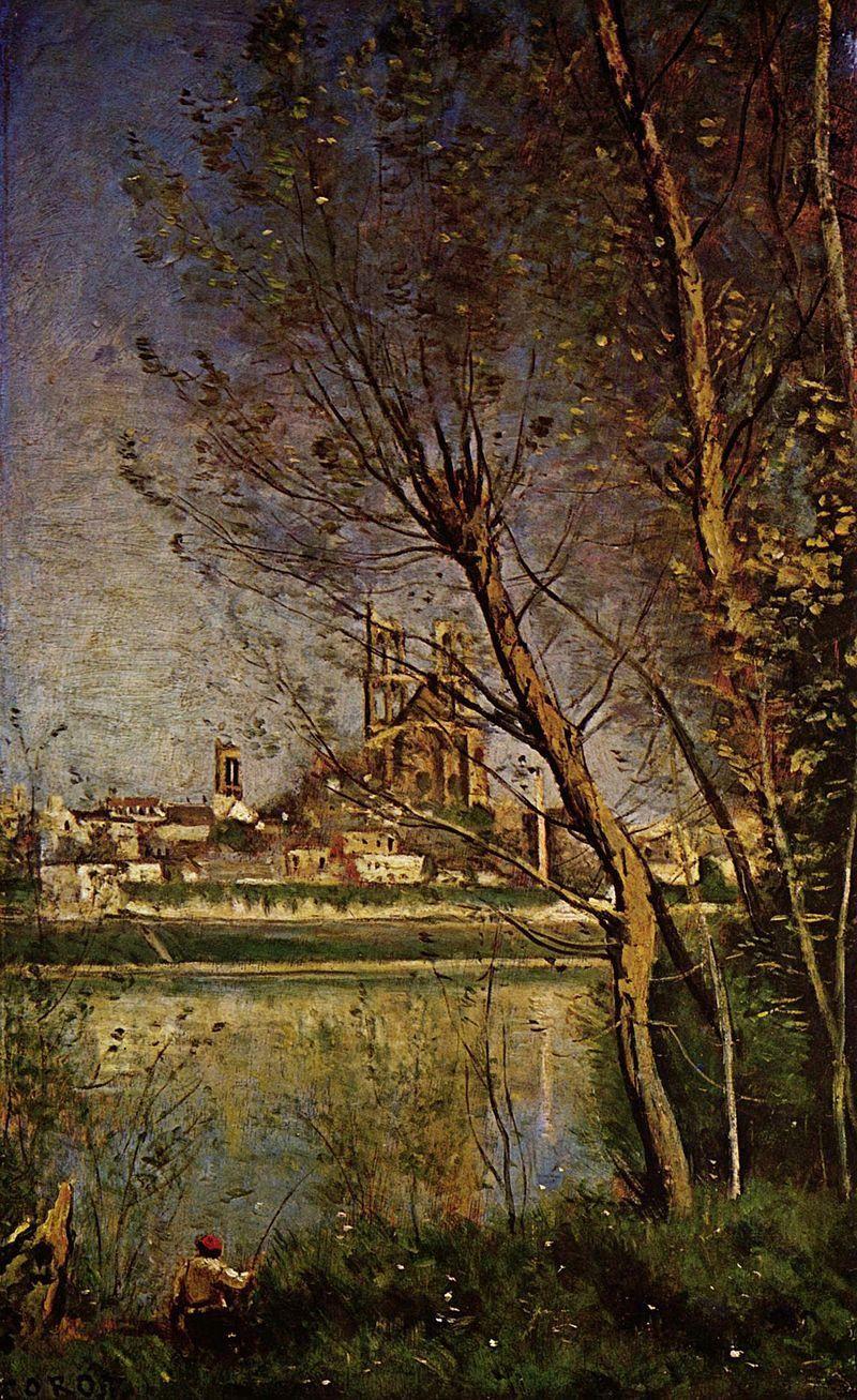 les tanneries de Mantes- Par Jean-Baptiste Camille Corot — Web Gallery of Art:  Image Info about artwork, Domaine public, https://commons.wikimedia.org/w/index.php?curid=15385440