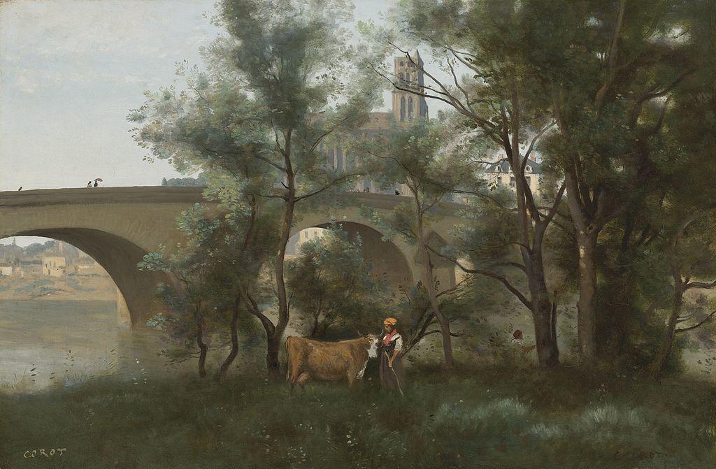 Mantes, les bords de la Seine au pied du pont- Par Jean-Baptiste Camille Corot — Sotheby's, Domaine public, https://commons.wikimedia.org/w/index.php?curid=19883066