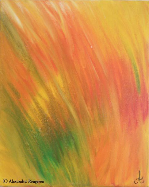 La savane africaine à la tombée de la nuit. Derrière la brousse aux mille feux vert-orangés, se dresse encore pour quelques minutes, ce soleil si ardent mais de plus en plus décadent. Peinture à l'huile. Dimensions 33x41cm