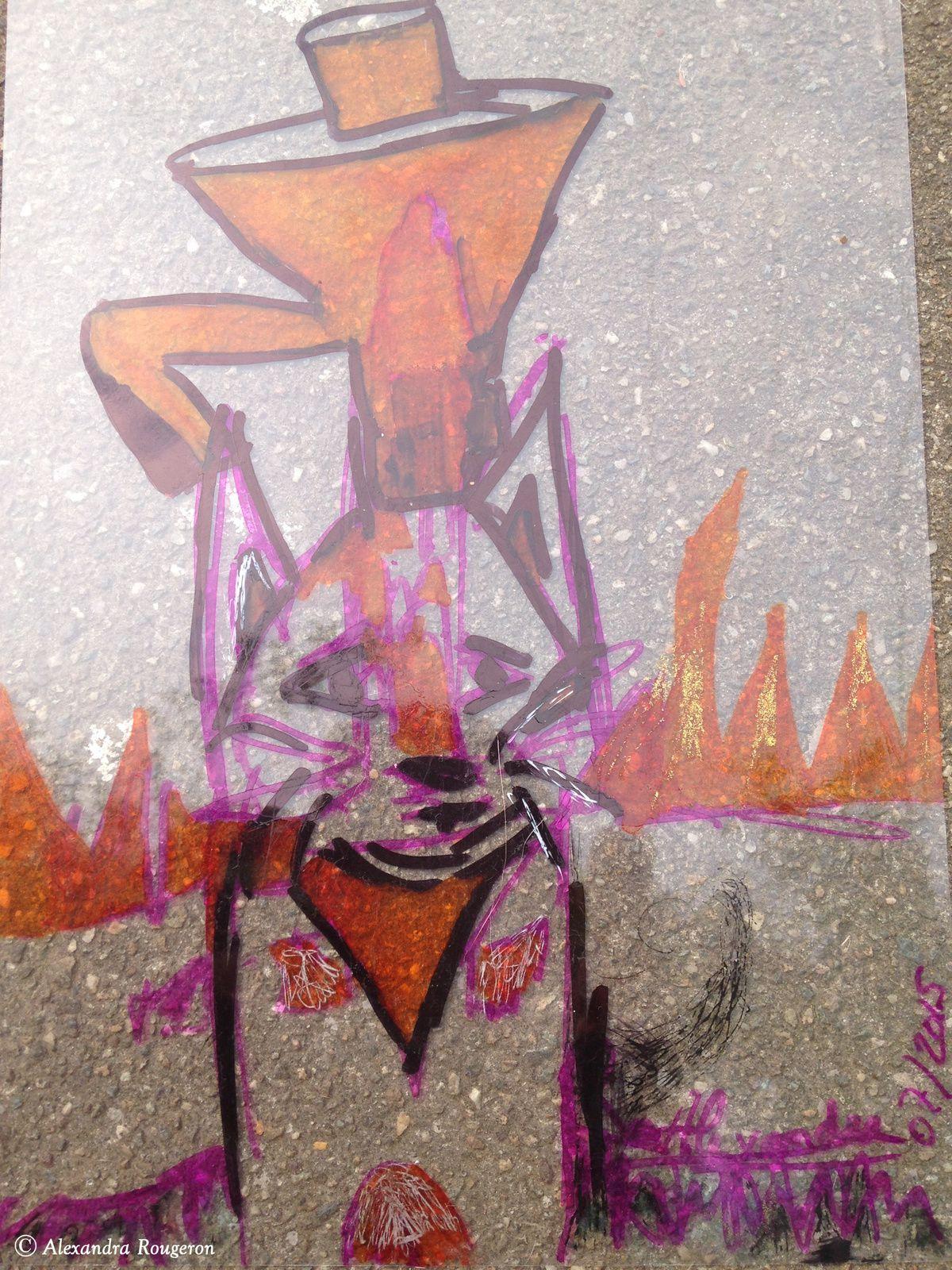 Qui adoptera ce chat abandonné, oublié ?… en carafe ! Si il ne peut plus voir les humains en peinture, c'est qu'ils lui en ont fait voir de toutes les couleurs. Son poil est soyeux comme un pinceau. Sa frimousse  est le portrait d'un chat espiègle et Chat-leureux. 2015 Paris Montmartre
