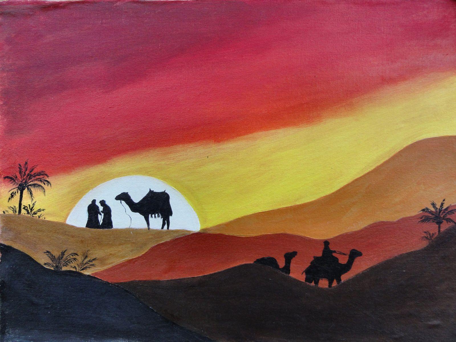 OMBRE ET LUMIERE DU DESERT (peinture acrylique sur toile 5OX4O)