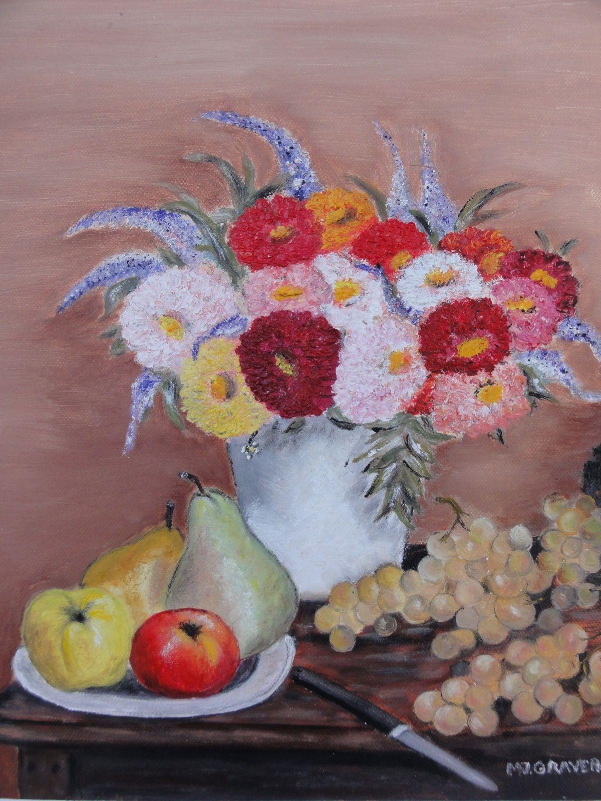 BOUQUET DE DALHIAS (peinture à l'huile sur toile 30x20)