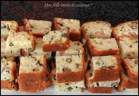 Cake aux lardons, roquefort et noix