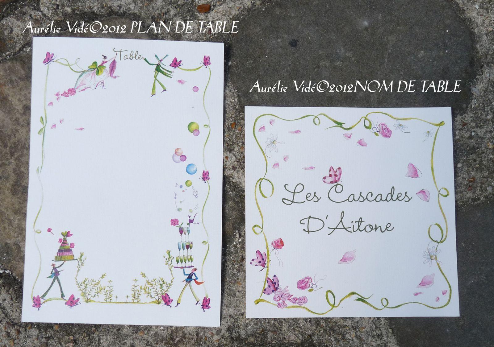 Plan de table Globe-Trotter personnalisé et plan de table du Oui rose et vert et son nom de table.