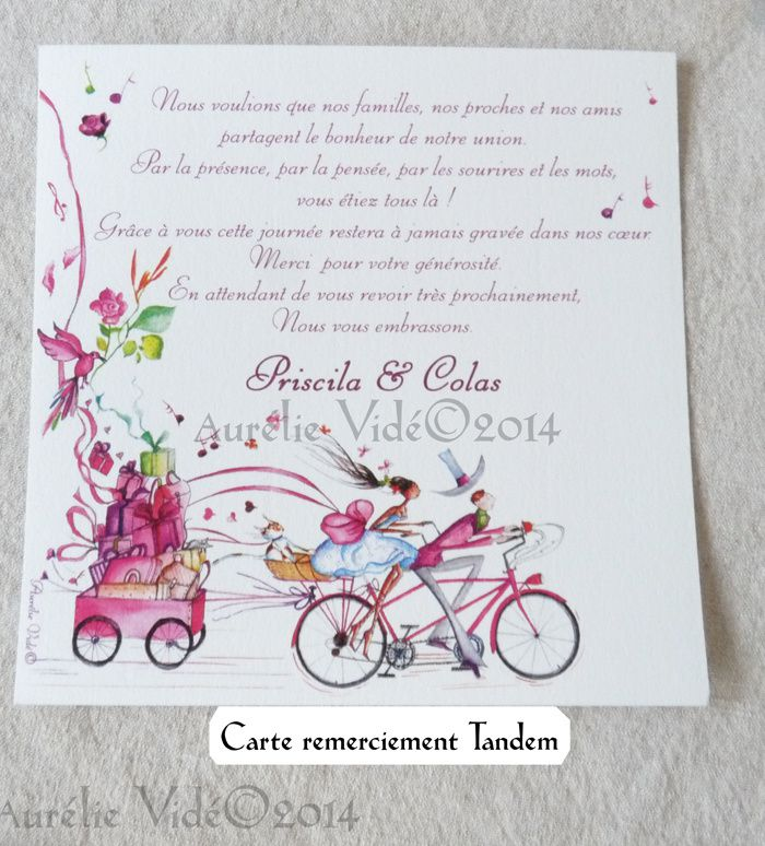 Cartes de remerciement illustrée, carré simple face, en accord avec le thème de votre mariage