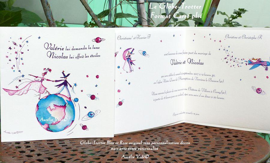 Globe-trotter original format carré plié bleu et rose et texte personnalisé à l'intérieur