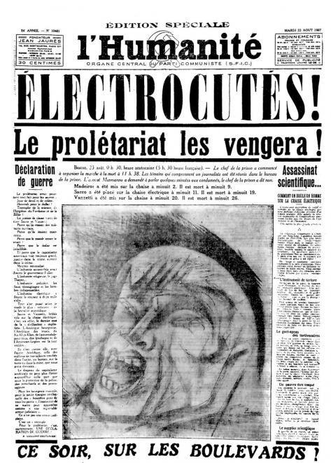 La nouvelle édition spéciale de l'Humanité du 23 août 1927. À la suite de ce tirage, de multiples initiatives seront rapidement prises pour « honorer la mémoire des deux martyrs ».
