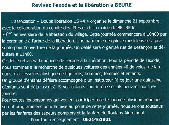 Dimanche 21 septembre, Beure libéré !!!