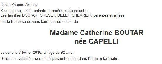 Décès de Mme BOUTAR Catherine