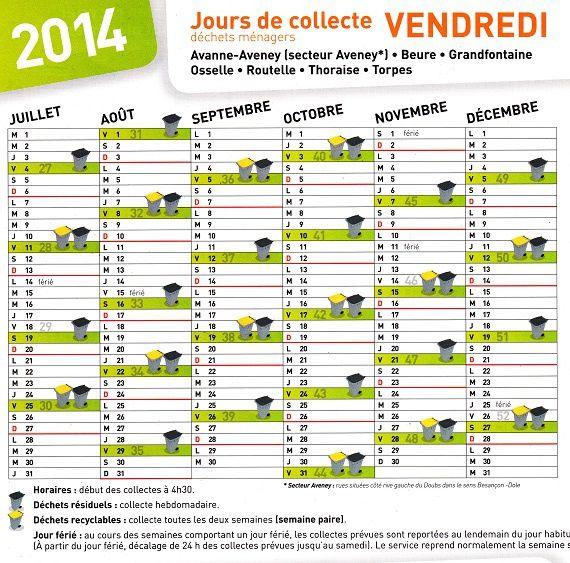 Calendrier 2014 : Collecte déchets ménagers