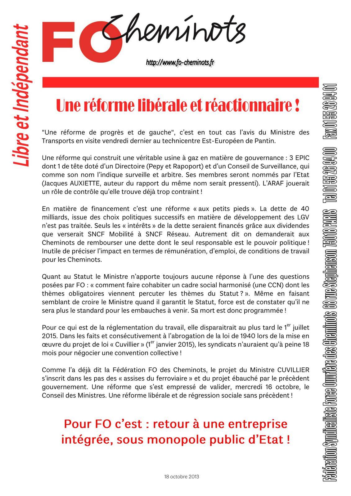 Une réforme libérale et réactionnaire! 18 10 2013
