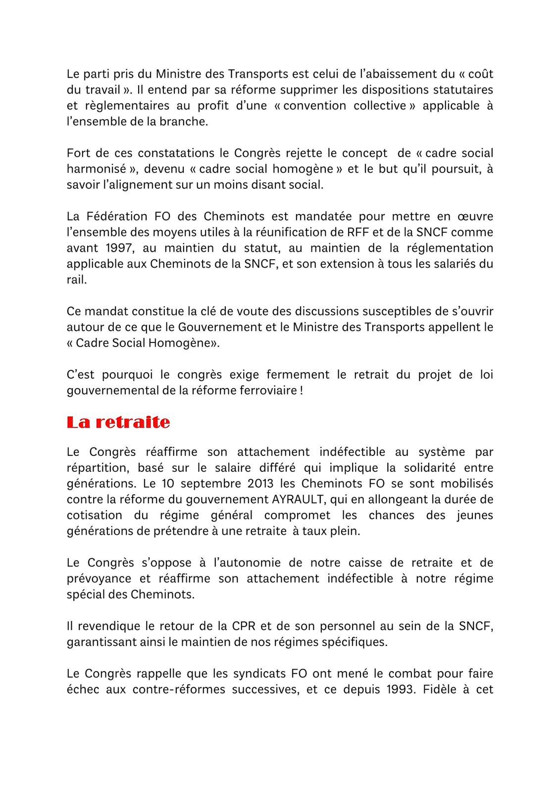 RESOLUTION du XXI ème congrés de la fédération syndicaliste Force Ouvrière des CHEMINOTS