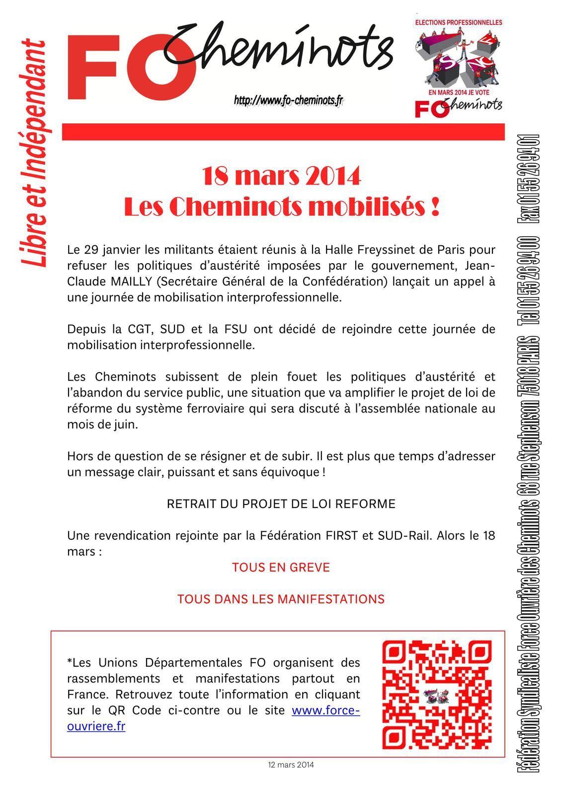 le 18 mars, les Cheminots MOBILISES! 13 03 2014