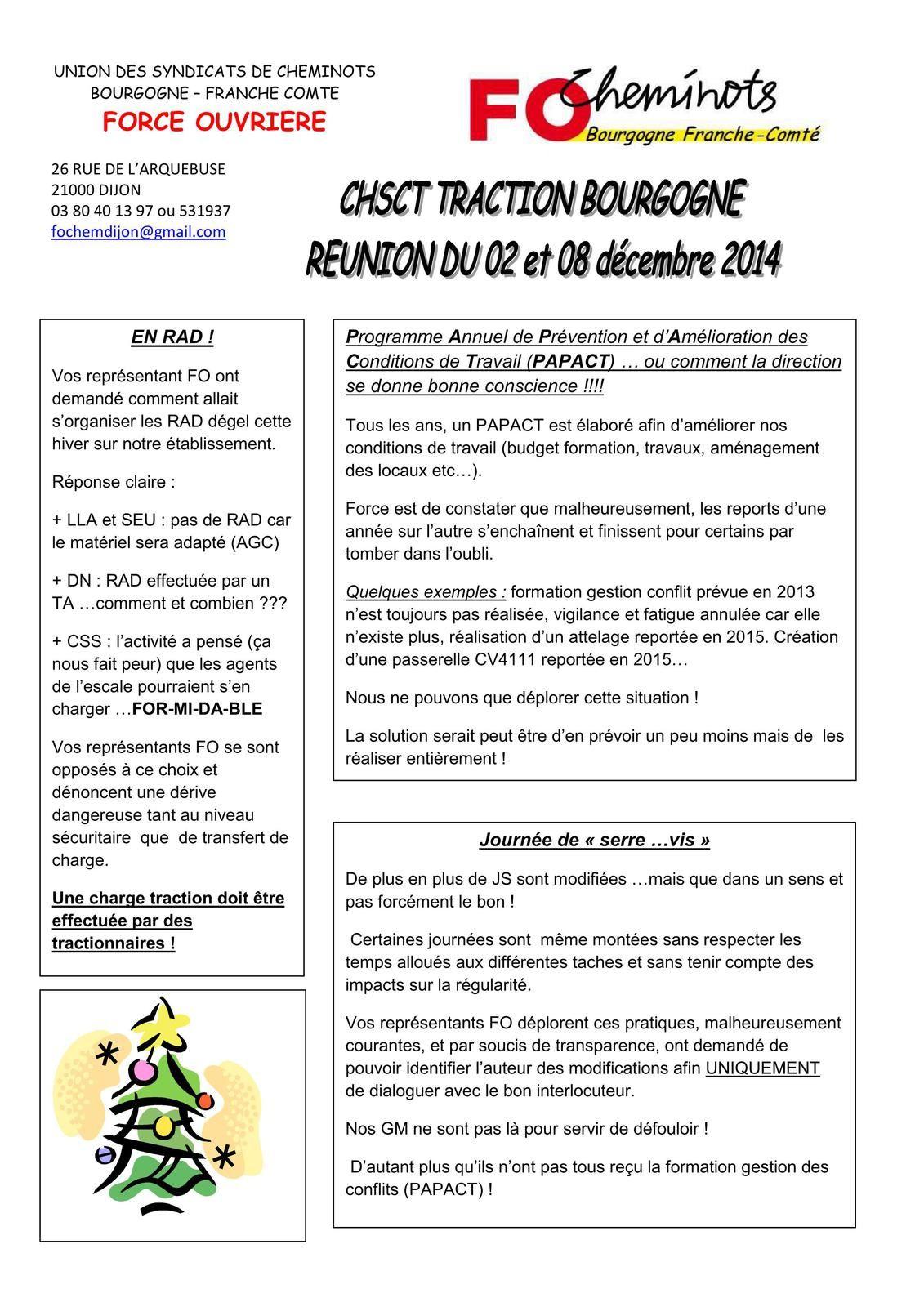 CR CHSCT Décembre 2014. 20-12-2014
