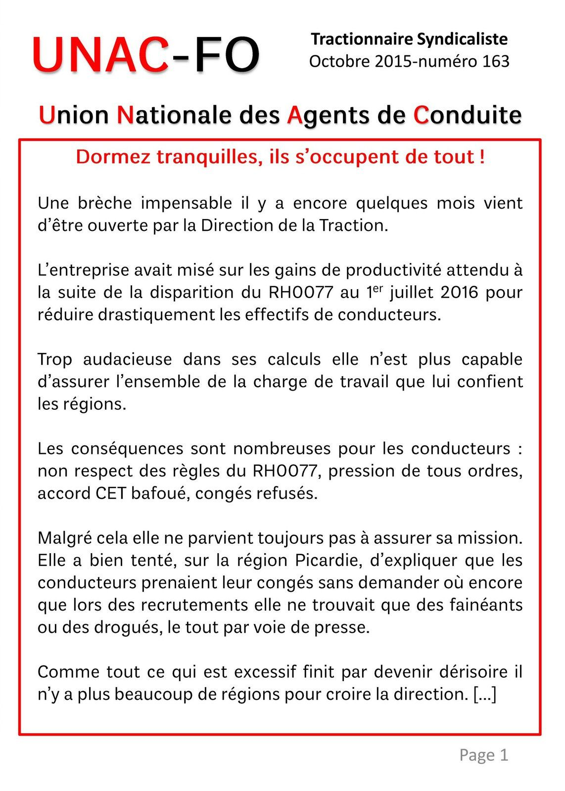 Tractionnaire Syndicaliste 07 10 2015