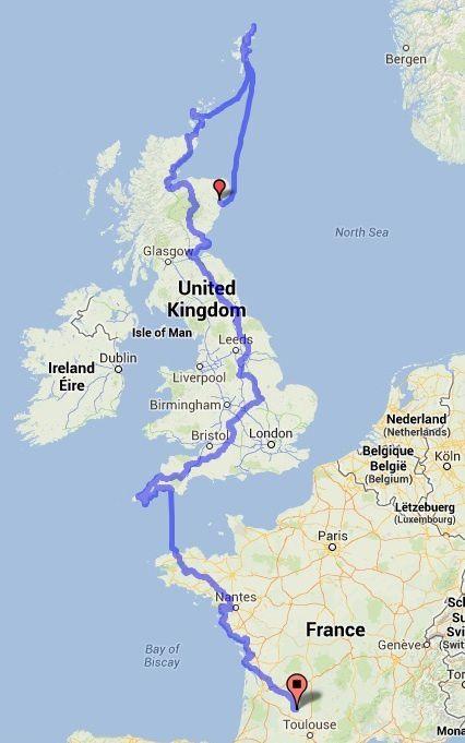 3700 km à vélo, le trajet total