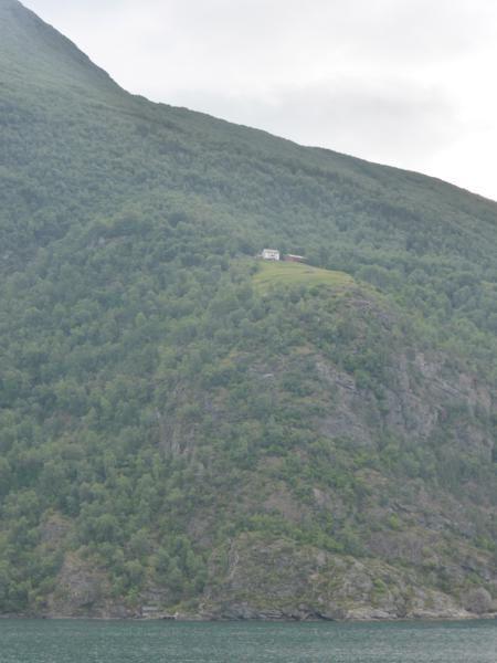 la croisière est commentée...on nous montre des fermes accrochées à la montagne...