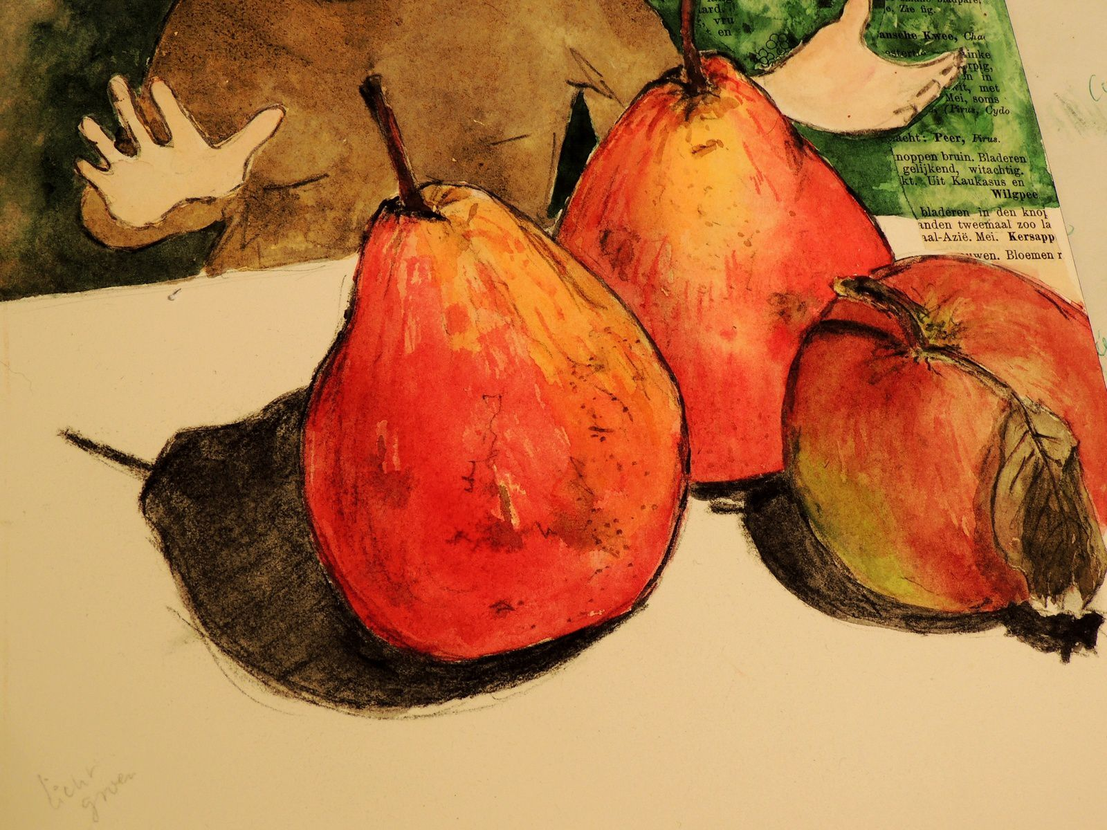 Pomme, poire...... - apple pear mixed media