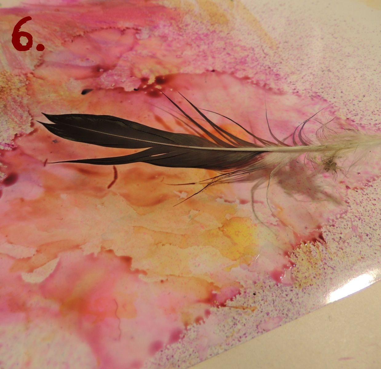 plumes et encres alcool - feathers and alcohol inks