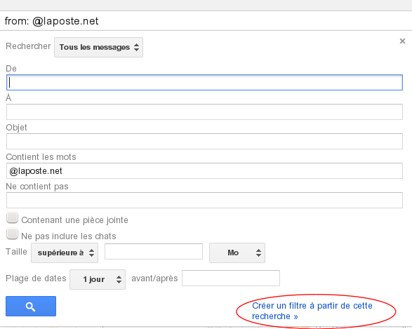 creation filtre gmail