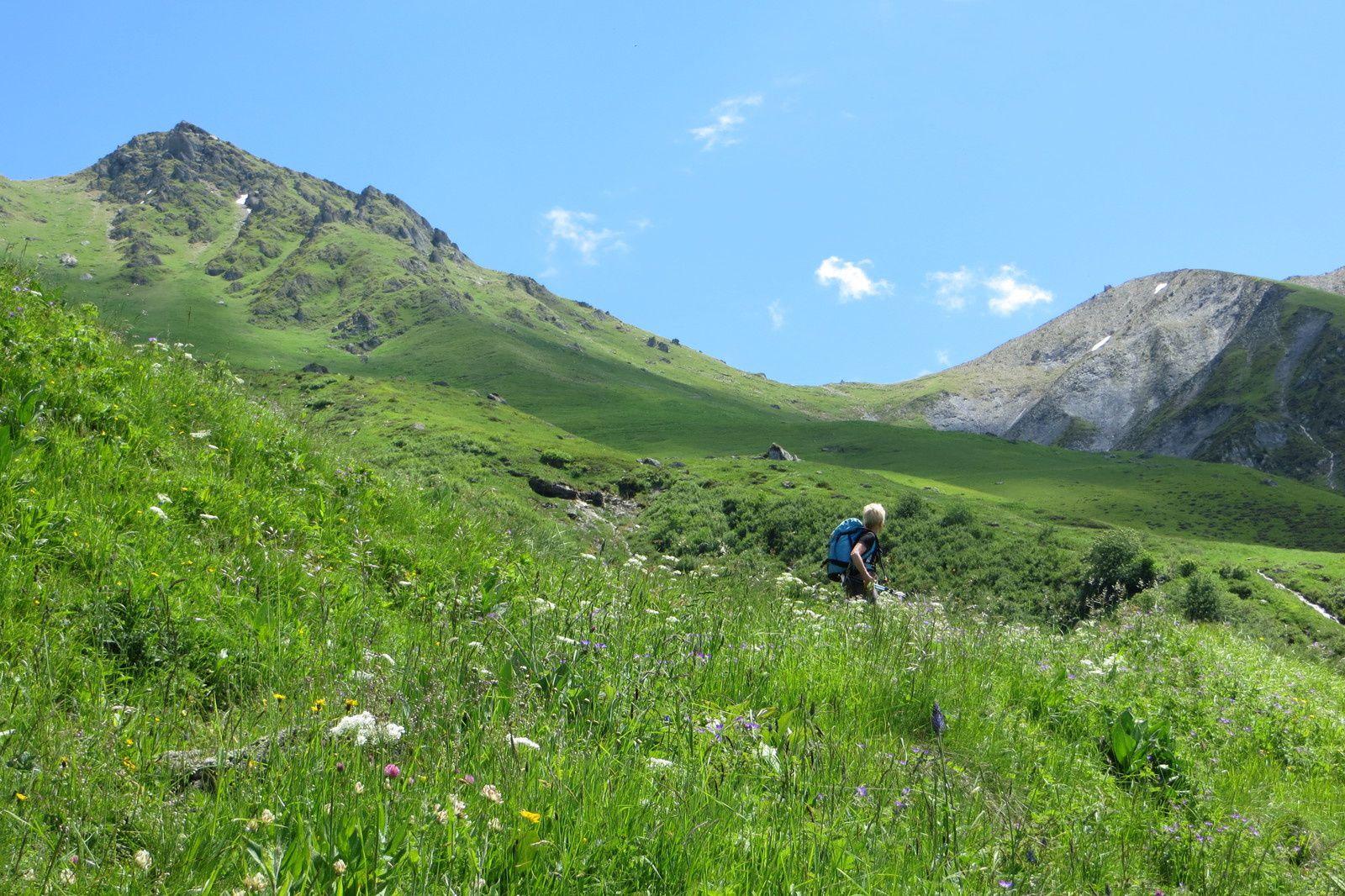 Vue générale du vallon de montée et Col de Valbuche
