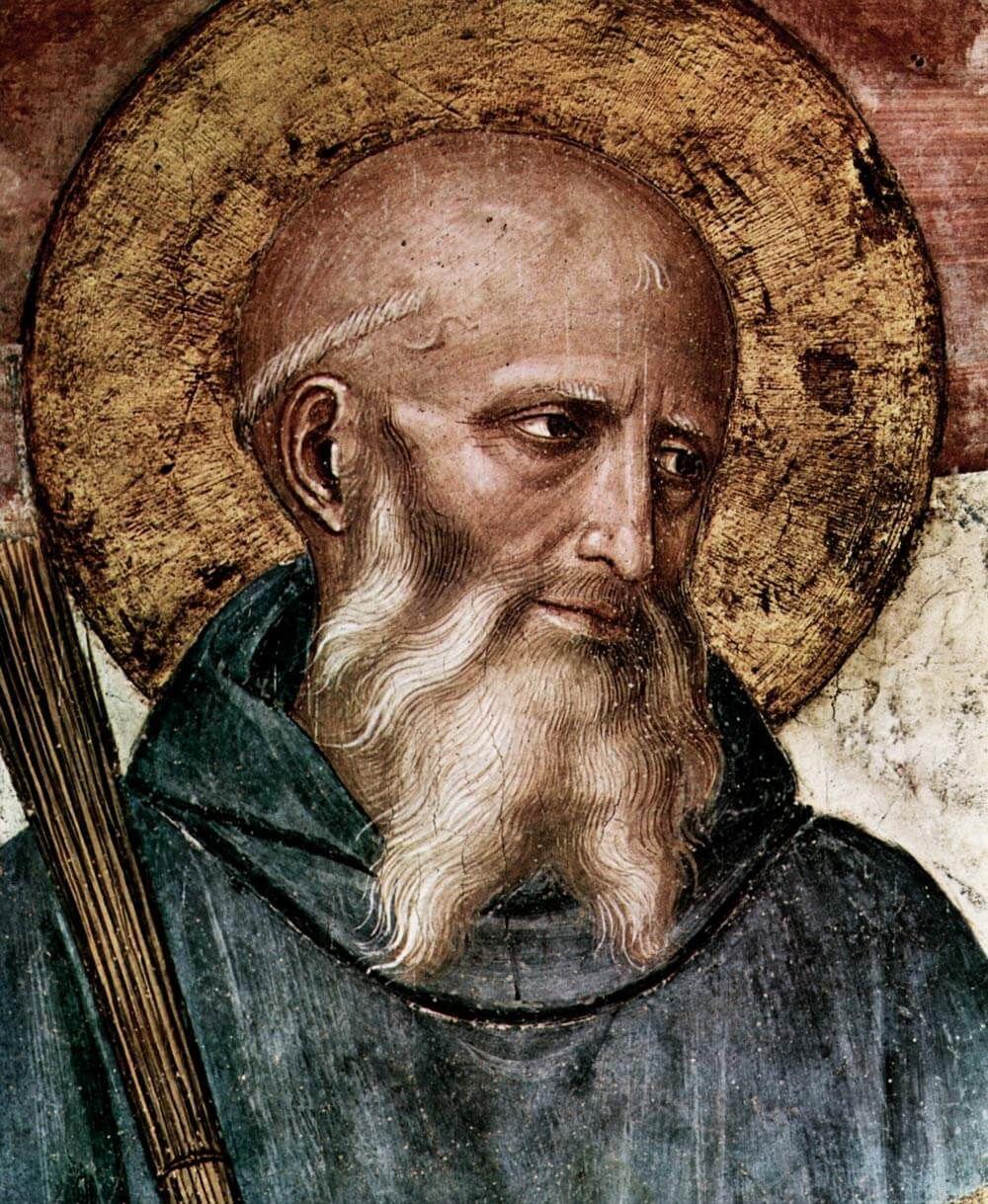 """Saint Benoît de Nursie peint par Fra Angelico : """"Qui veut la vie et désire le bonheur? Si tu réponds """"Moi"""" alors écoute mon fils et prête l'oreille de ton coeur... et creuse comme un chercheur de trésor..."""""""