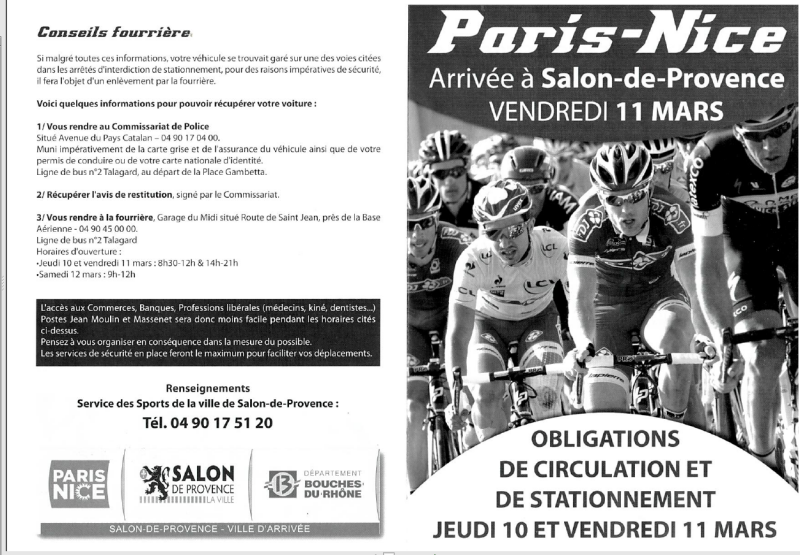Paris - Nice 10&amp&#x3B; 11/03 -&gt&#x3B; circulation &amp&#x3B; stationnement
