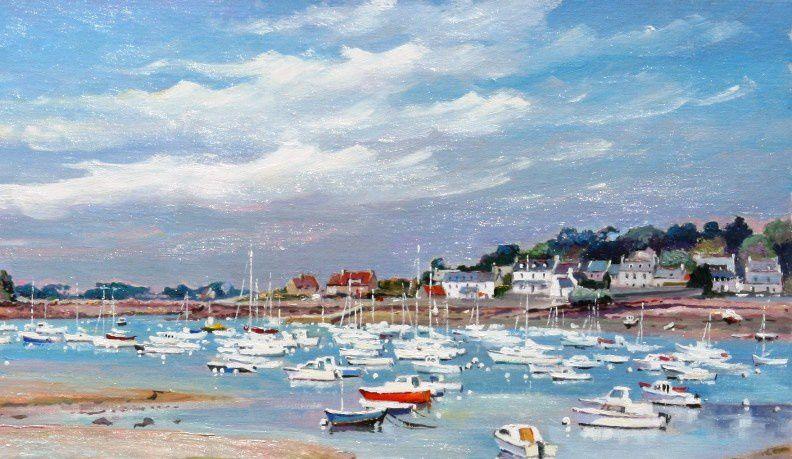 Peinture à l'huile de la côte de granit rose : Ploumanach à marée basse -  Huile sur toile - 73 x 54 cm - détail