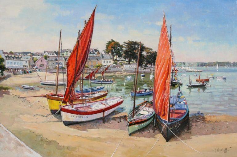 La fête de la misaine dans le port de Combrit Sainte-Marine - Une peinture marine offrant une perspective sur le charmant port breton et sur de beaux misainiers (le Sant-Voran, le plus à droite sur le tableau notamment). Huile sur toile - 81 x 54 cm