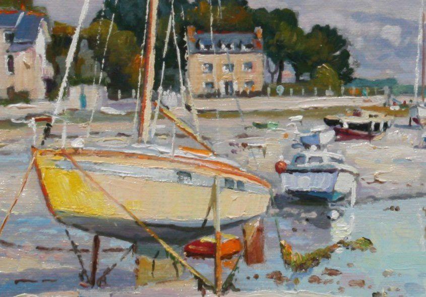 """Peinture et perspective : gros plan sur le voilier jaune - détail du tableau """"Le voilier jaune à Lesconil, Ster Nibilic""""  peinture à l'huile sur toile - 41 x 33 cm - Henri Le Goff"""