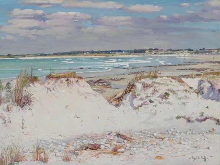 Les dunes de Pors Carn sur le site naturel protégé de La Torche - Huile sur toile - 61 x 46 cm - Peinture Henri Le Goff
