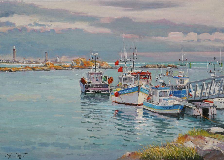 Navires de pêches au port de Saint-Guénolé Penmarc'h - Huile sur toile - Peinture Henri Le Goff