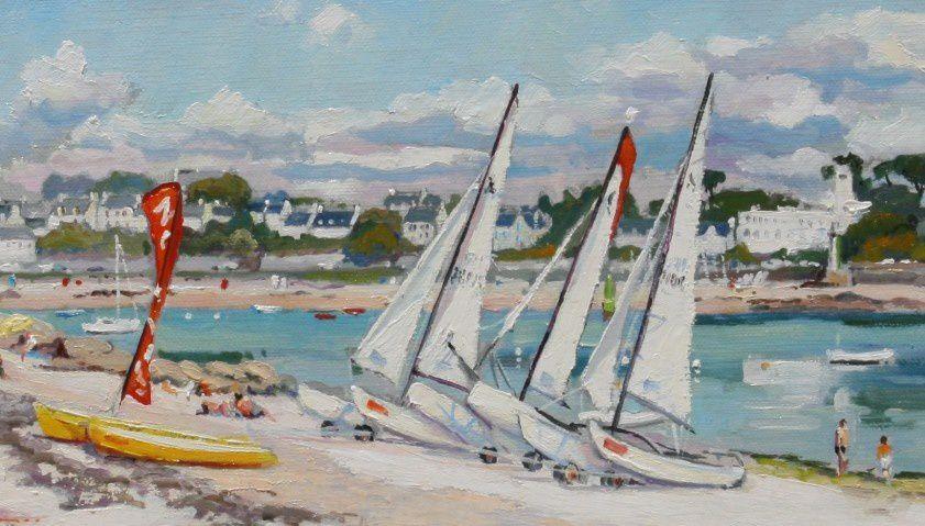 Voiles et voiliers à Sainte Marine, l'école de voile du Pussou - Tableau à l'huile sur toile (détail)