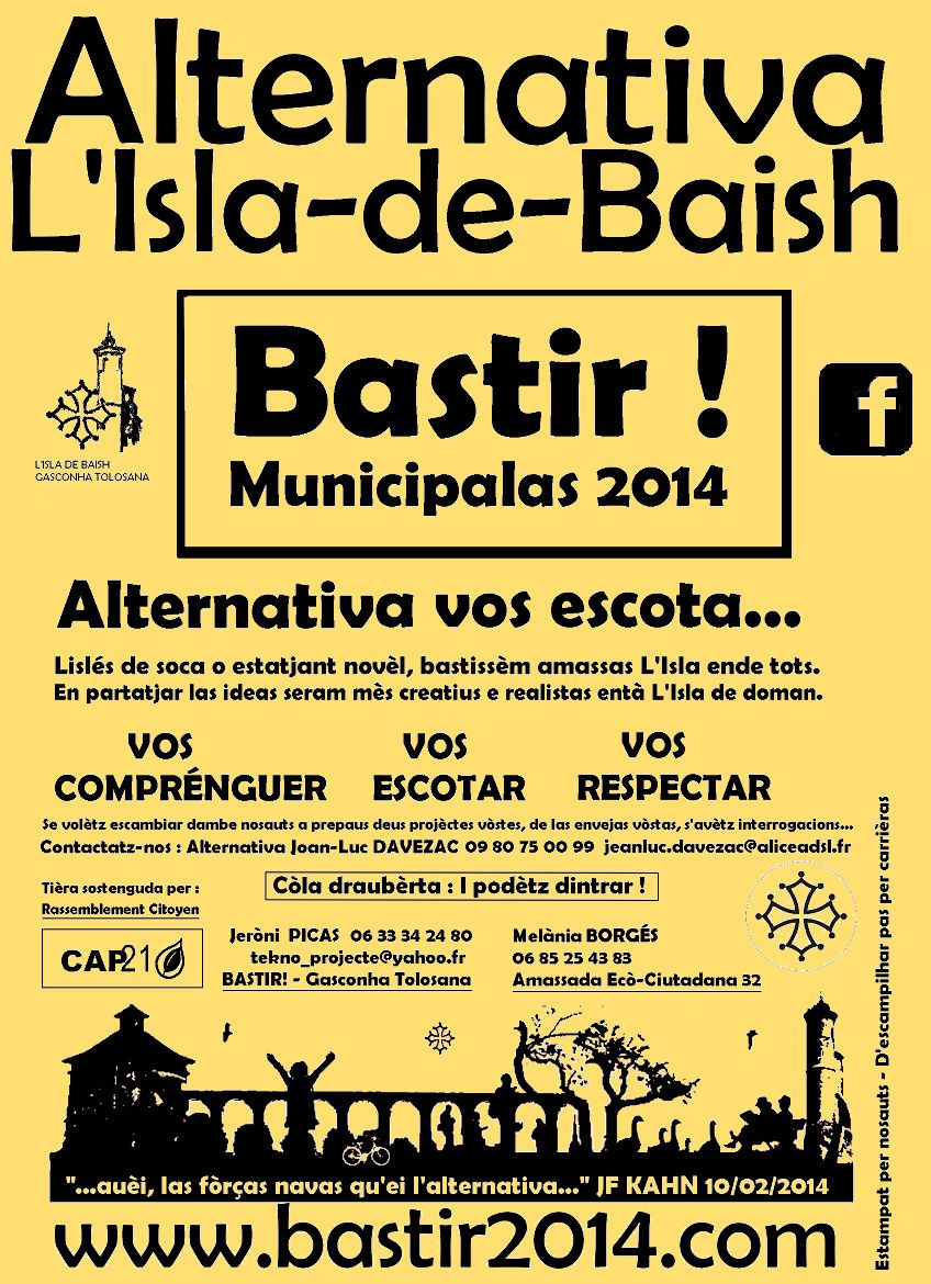 Municipalas 2014, lista Alternativa L'Isla-de-Baish
