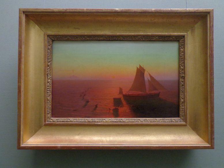 Un bateau entouré de dauphins - August Kopisch - 1829
