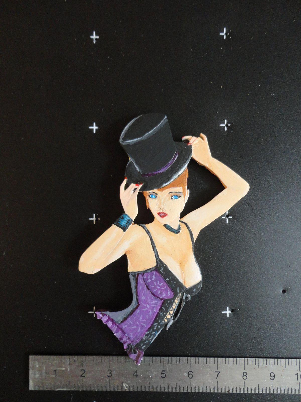 Cabaret Peinture miniature d'après un plat d'Yvan Durand