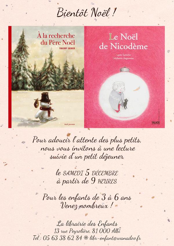 Pour les plus petits, rendez-vous le samedi 5 décembre pour la lecture de deux très beaux albums de Noël...