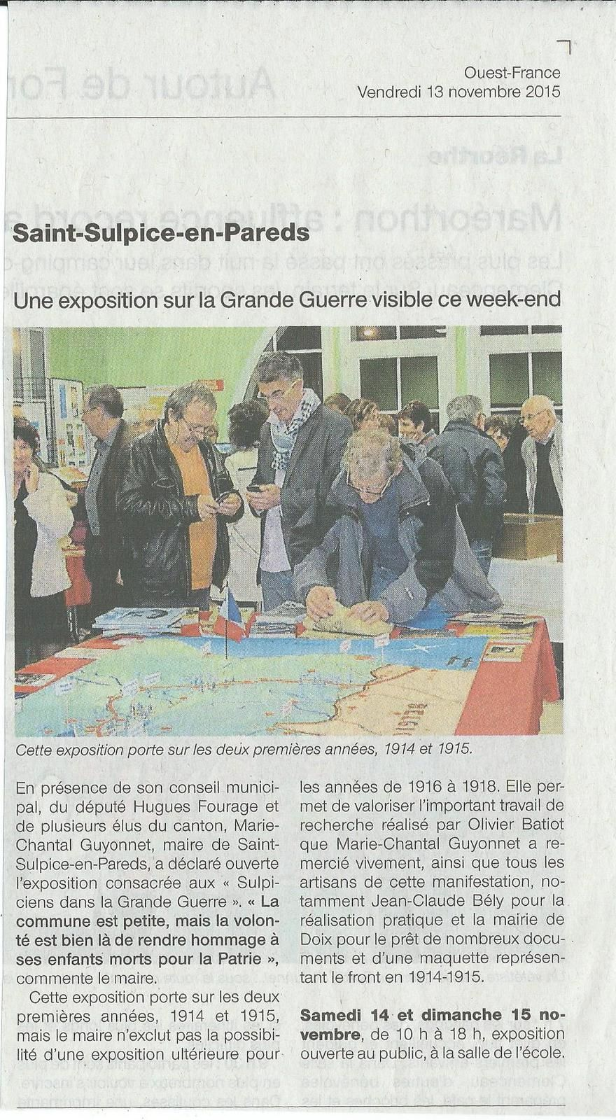 Expo Saint Sulpice en Pareds Ouest France 13 11 2015