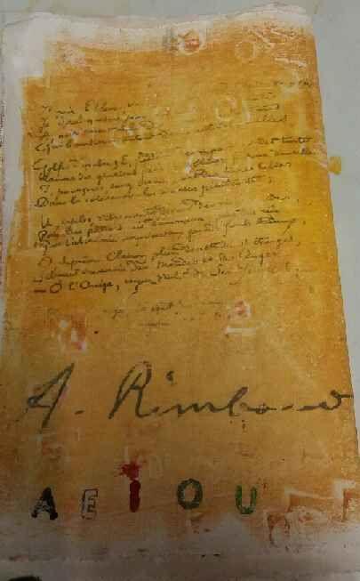 Transfert du poème Voyelles et de la signature de Rimbaud