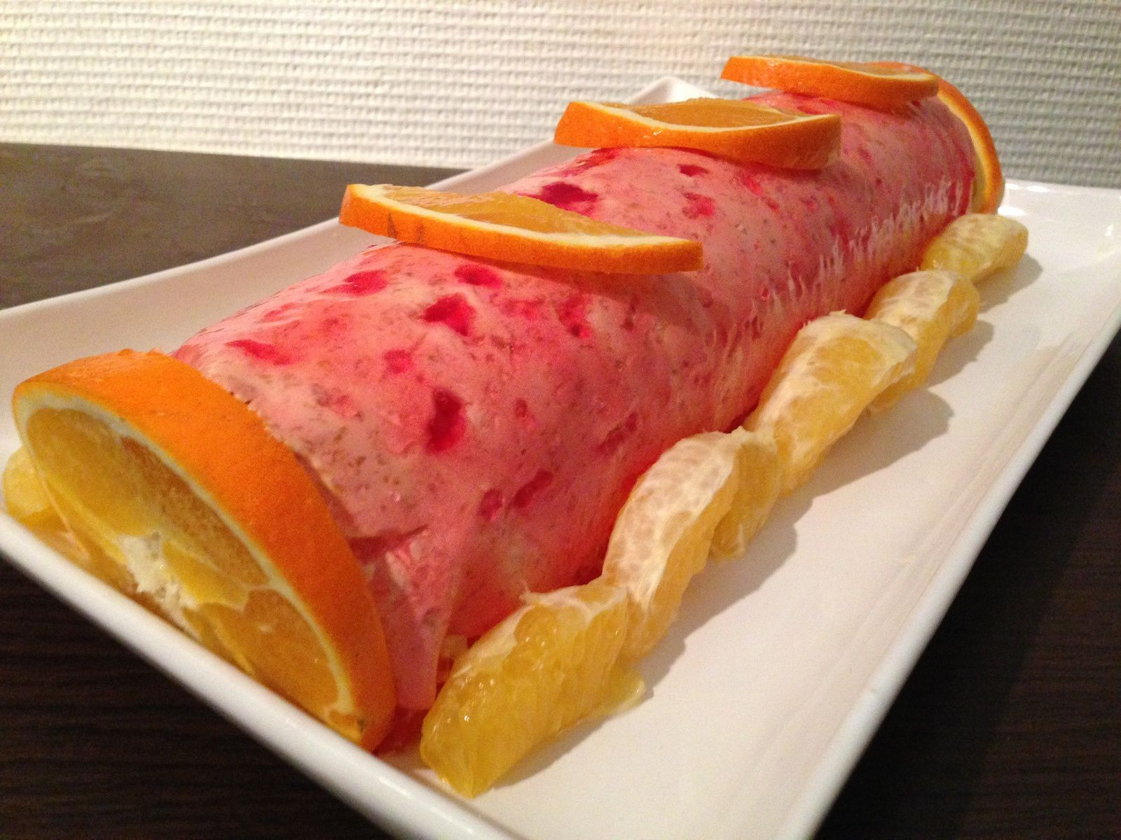Bûche pêche orange