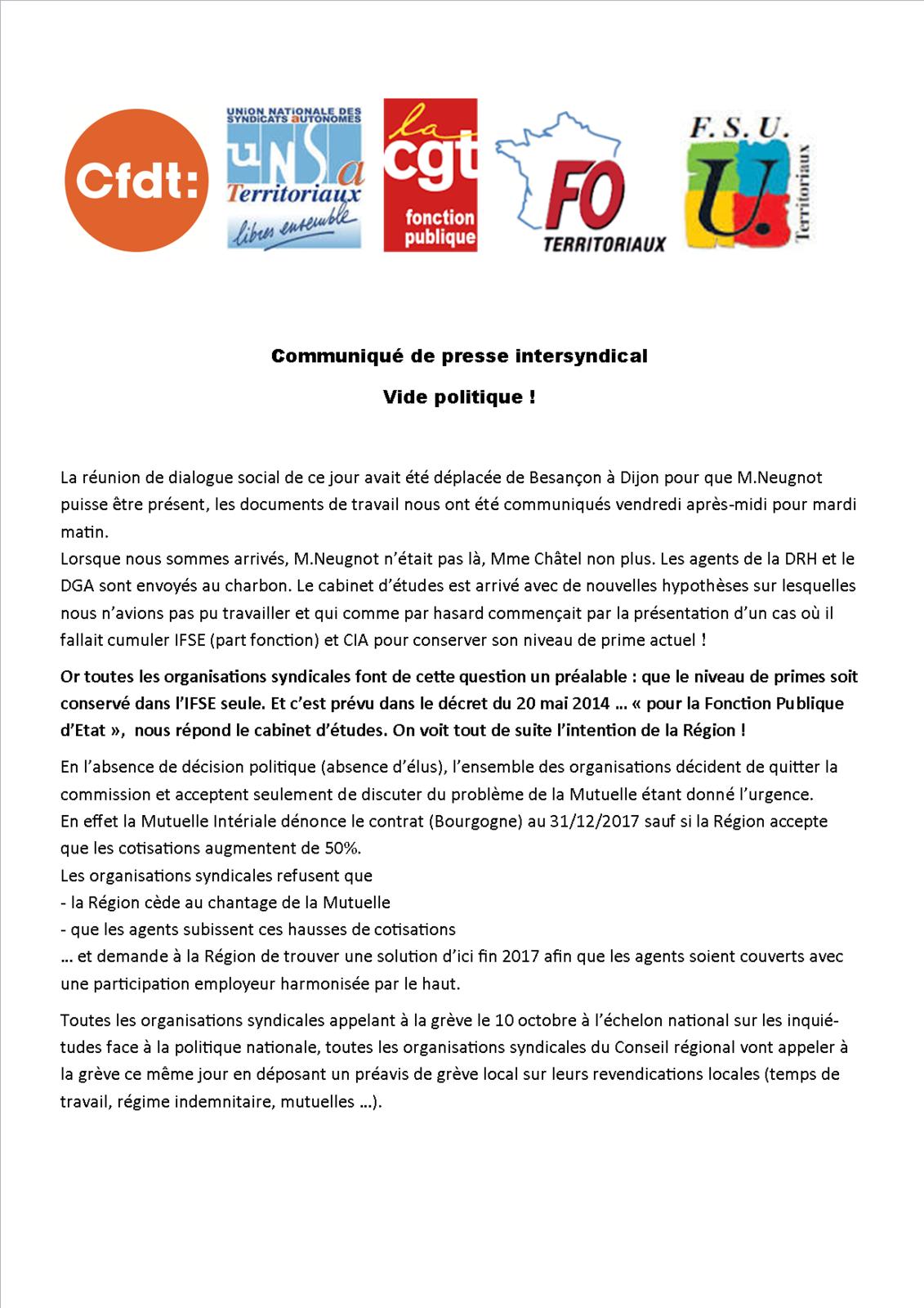 Déclaration intersyndicale puis communiqué de presse