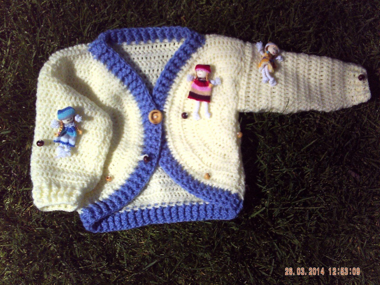 BOLERO FILLETTE AU CROCHET SUR MESURE....laine poupées...( dolls)