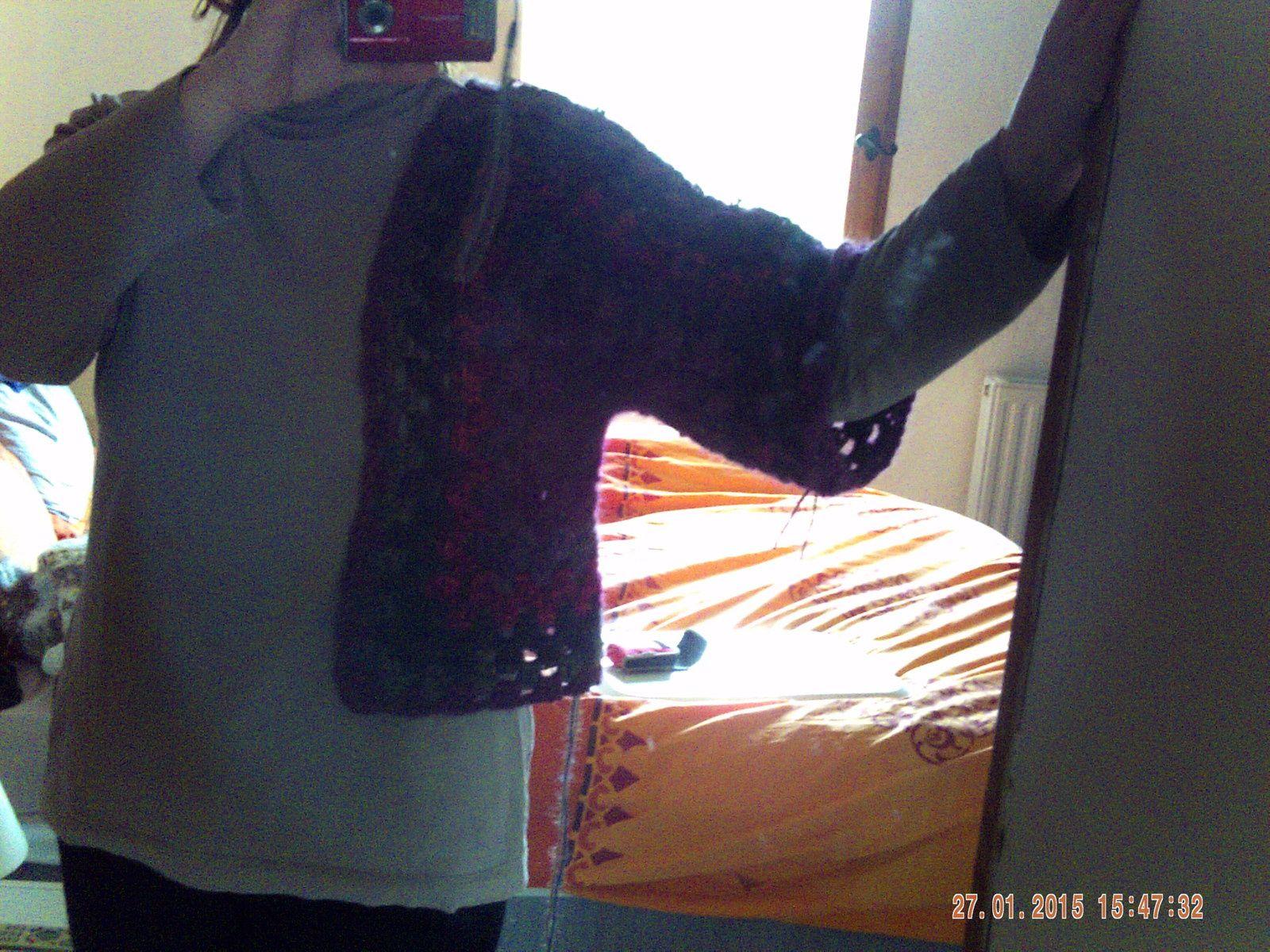 TUTO POUR UNE VESTE/ BLOUSON FEMME SUR LA BASE D'UN SHRUG ( tricot et crochet)