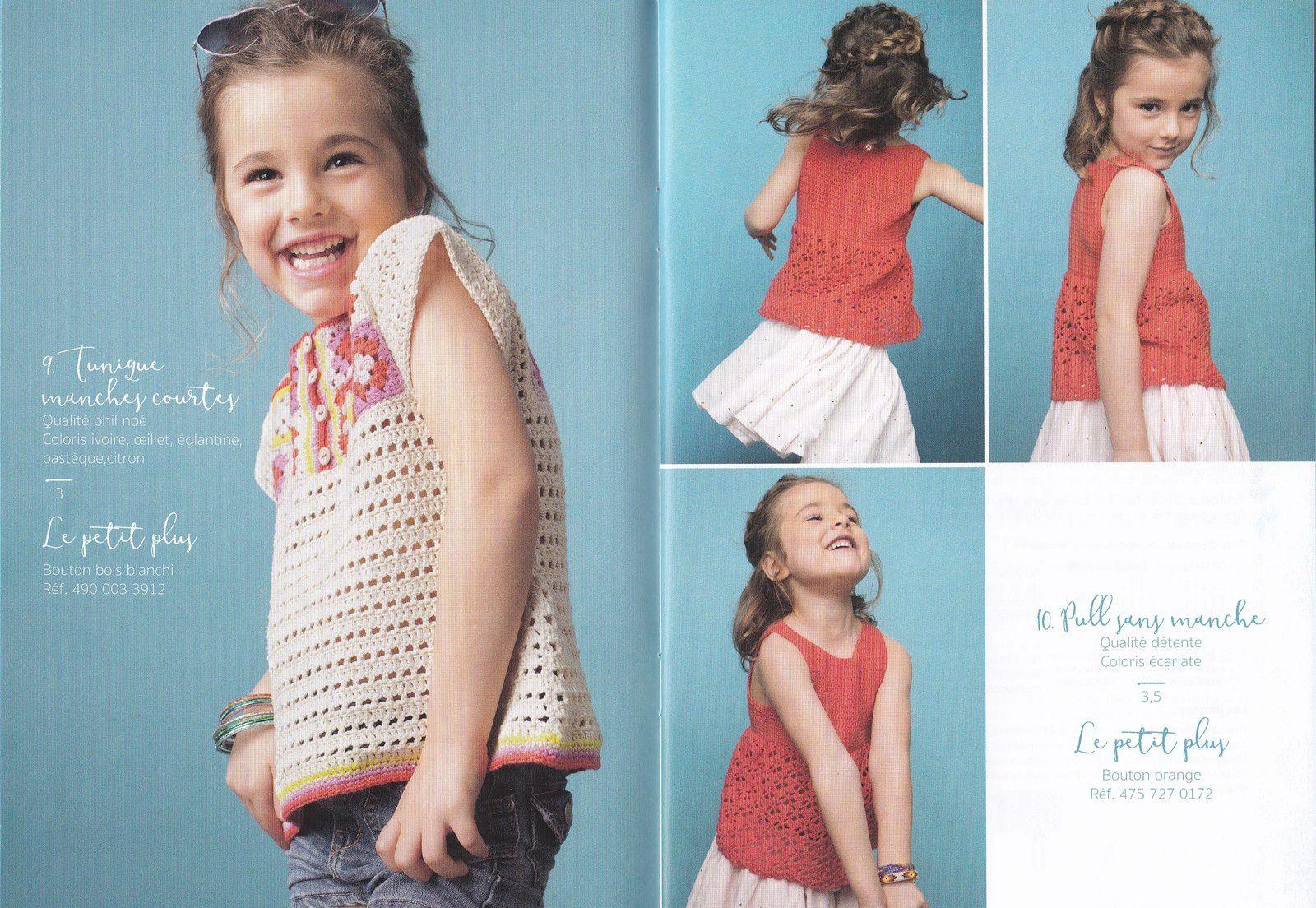 Modeles Fillette Au Crochet Pull Sans Manche Et Tunique